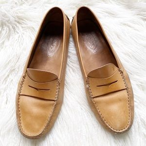 """TOD'S tan """"Gommino"""" leather driving loafers"""